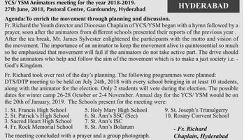 Animators Training Program- Diocese of Hyderabad , Telangana Region